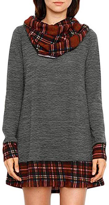 Happy Sailed Women Cowl Neck Tops Color Block Pullovers Elbow Patchs Plaid Long Tunic Blouse Dre ...