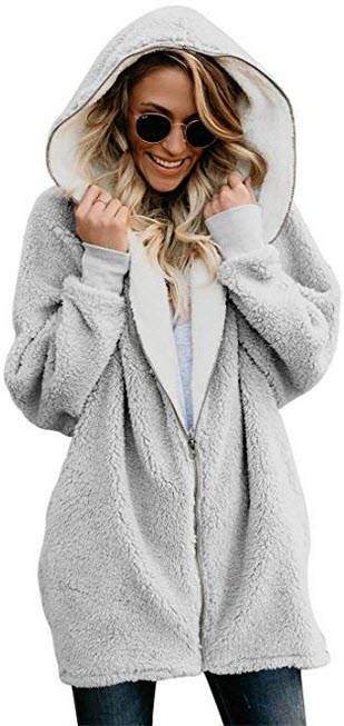 Happy Sailed Women Long Sleeve Zip Oversized Open Front Hooded Pockets Fuzzy Fleece Cardigan Coa ...