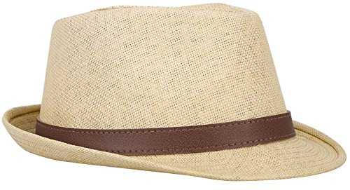Harcadian Men Short Brim Structured Fedora Straw Hat w Buckle Band Sun Hat