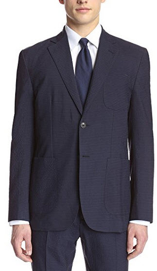 Hardy Amies Men's 2 Button Patch Pocket Seersucker Jacket navy