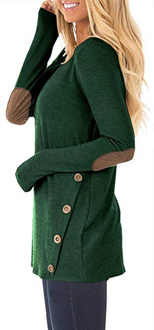 HARHAY Women's Long Sleeve Faux Suede Casual Blouse Tunic Shirt Tops army green