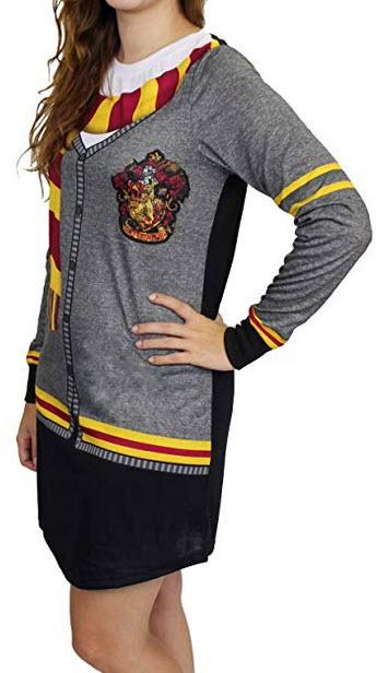 Harry Potter Hogwarts Gryffindor Women's Long Sleeve Nightgown Pajamas black-grey