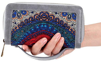 HAWEE Big Size Long Wallet for Woman Dual Zippered Clutch Purse Premium PU, gray floral with strap