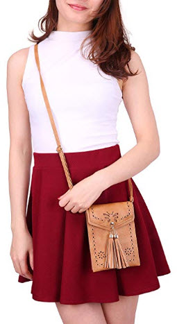 HDE Small Crossbody Pouch Purse Tassel Travel Phone Wallet Vintage Leather Bags, brown