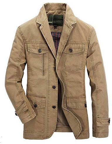 Heihuohua Men's Casual Cotton Jacket Lightweight Notched Collar Coat khaki