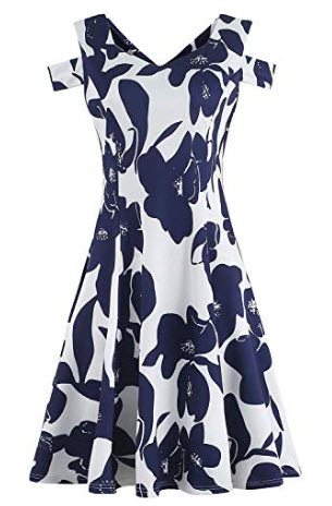 HELYO Women's Casual Elegant Cold Shoulder Party Dress Sweetheart Neckline A Line Work Swi ...
