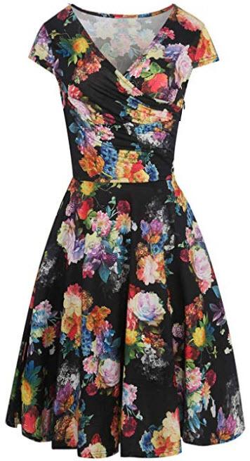 HELYO Women's Elegant Casual Cap Sleeve Wrap Dress Retro V-Neck A Line Work Swing Dresses  ...