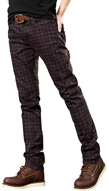 HENGAO Mens Stretch Tapered Plaids Jeans wine red