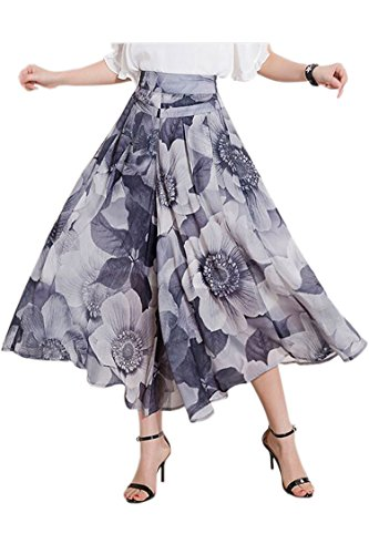 Herose Ladies Spring Autumn Printed Chiffon Lining Cropped Wide Leg Pants Culottes