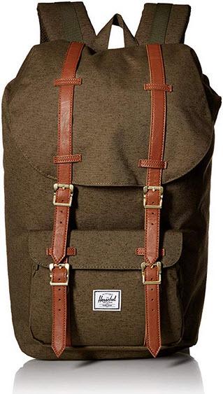 Herschel Little America Backpack Ivory Green Slub/Tan Synthetic Leather One Size  Ivory Green Sl ...