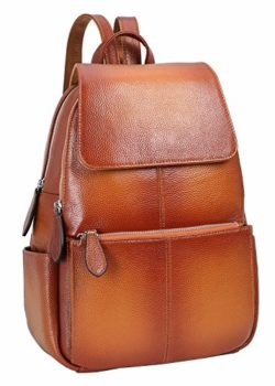 Heshe Womens Leather Backpack Flap Casual Daypacks Fashion Bag for Ladies and Girls