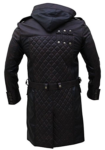 HF Outlets Assassins Creed Syndicate Jacob Frye Black Leather Trench Coat With Hoodie.