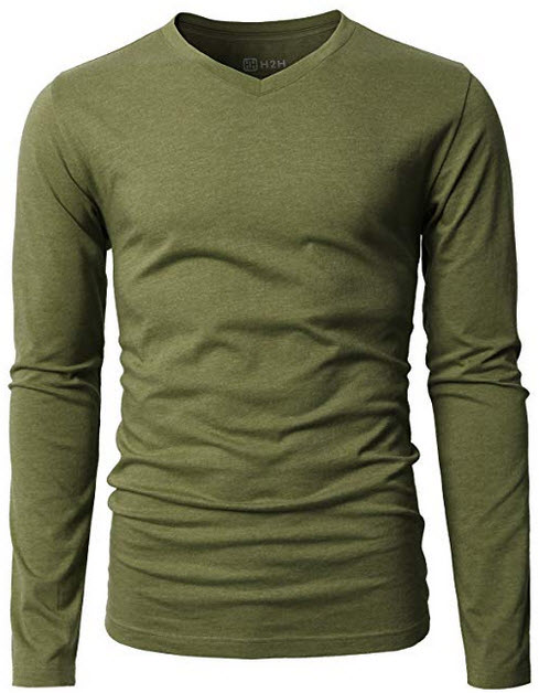 H2H Mens Casual Premium Slim Fit T-Shirts V-neck Long Sleeve Cotton Blended olive green
