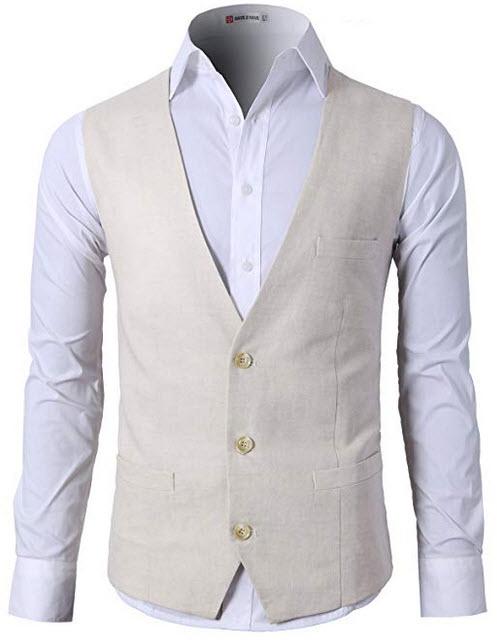 H2H Mens Casual Slim Fit Business Suit Vest Linen Solid 3 Buttons Stylish Dress Vest Cmov039-beige