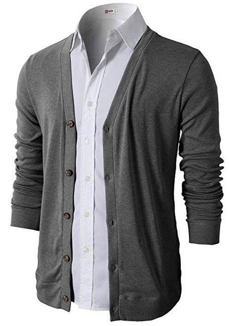 H2H Mens Casual Slim Fit Cardigans V-Neck Basic Designed Long Sleeve Button Down gray