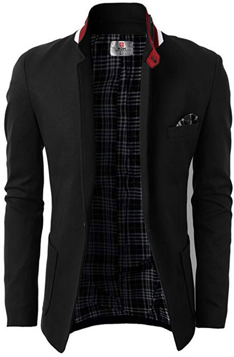 H2H Mens Casual Slim Fit Jackets Mandarin Collar Single Breasted black