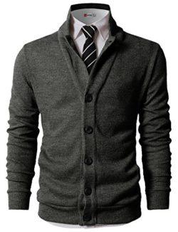 H2H Mens Casual Slim Fit Two-tone Herringbone Jacket Cardigans