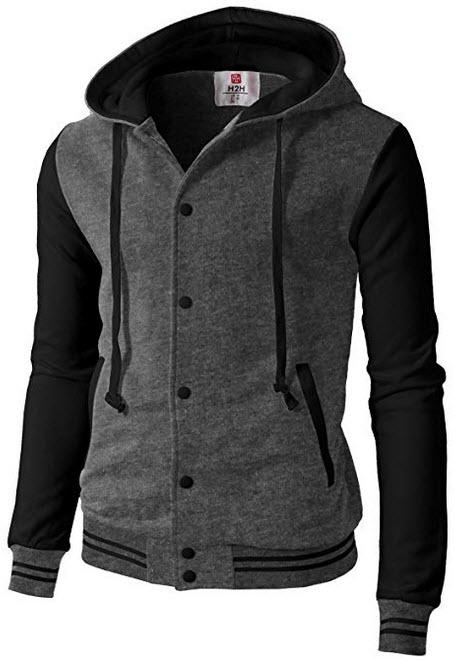 H2H Mens Fashion Slim Fit Varsity Baseball Bomber Jacket Hoodie Cotton charcoal black