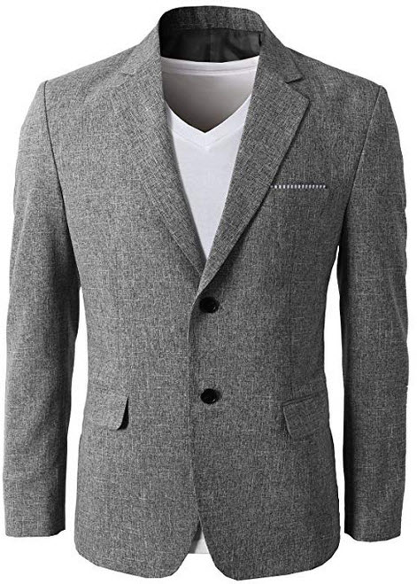 H2H Mens Slim Fit Suits Casual Solid Lightweight Blazer Jackets One Button Flap Pockets grey