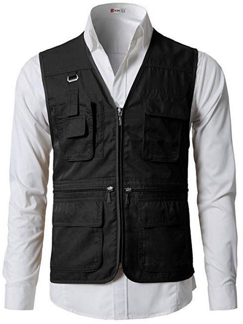 H2H Men's Summer Outdoor Work Safari Fishing Travel Utility Vest Pockets Black black