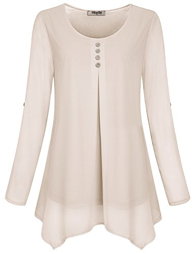 Hibelle Women's Roll-up Long Sleeve Round Neck Casual Chiffon Blouse Top