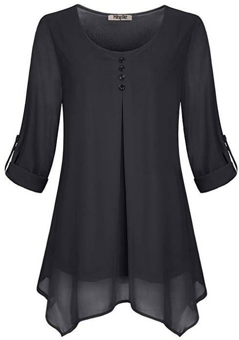 Hibelle Women's Roll-up Long Sleeve Round Neck Casual Chiffon Blouse Top black
