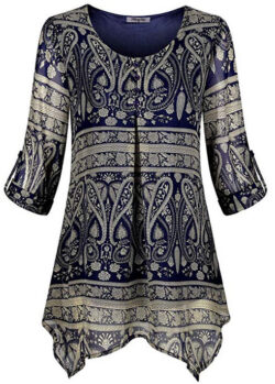 Hibelle Women's Roll-up Long Sleeve Round Neck Casual Chiffon Blouse Top blue