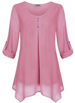 Hibelle Women's Roll-up Long Sleeve Round Neck Casual Chiffon Blouse Top pink