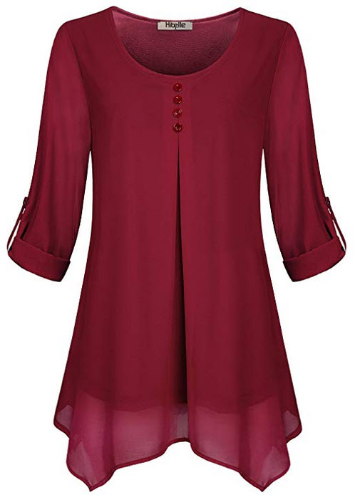 Hibelle Women's Roll-up Long Sleeve Round Neck Casual Chiffon Blouse Top red