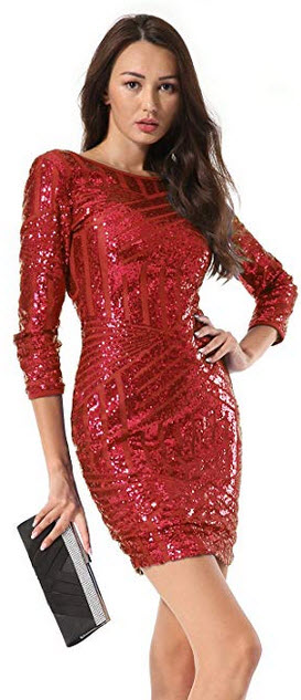 Hiistandd Women Sequin Glitter Long Sleeve Round Neck Backless Bodycon Stretchy Party Dress red