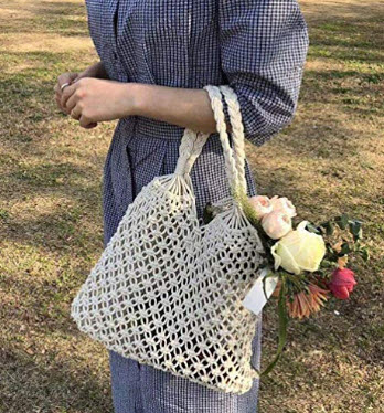 Hixixi Cotton Rope Travel Beach Fishing Net Handbag Shopping Woven Shoulder Bag for Women Girls, ...
