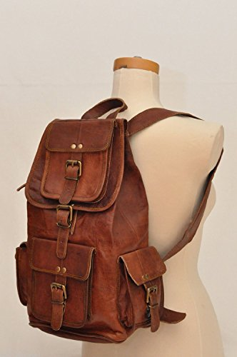 HLC 20″ Genuine Leather Retro Rucksack Backpack College Bag,School Picnic Bag Travel