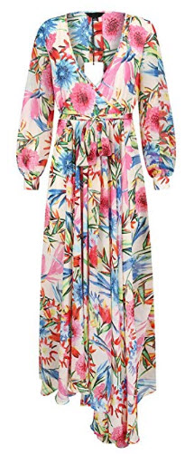 hodoyi Women Floral Print Wrap Tie Waist Long Sleeve Pleated Maxi Dress