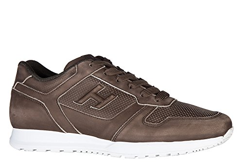 Hogan Men's Shoes Leather Trainers Sneakers h321 Brown
