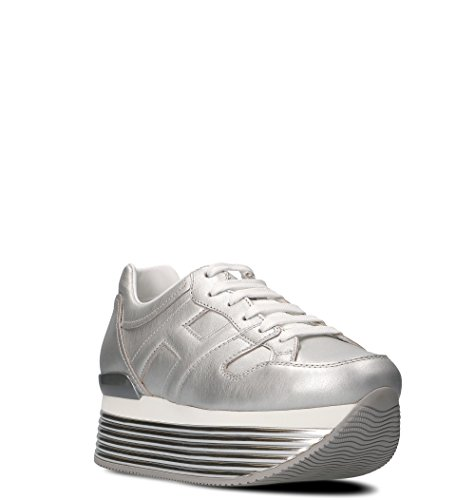 HOGAN Women's HXW3520T548I6EB200 Silver Leather Sneakers