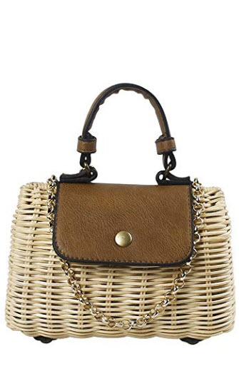 Hogoo Bamboo Crossbody Bags for Women Small Woven Summer Tote Bag Straw Rattan Beach Top Handle  ...