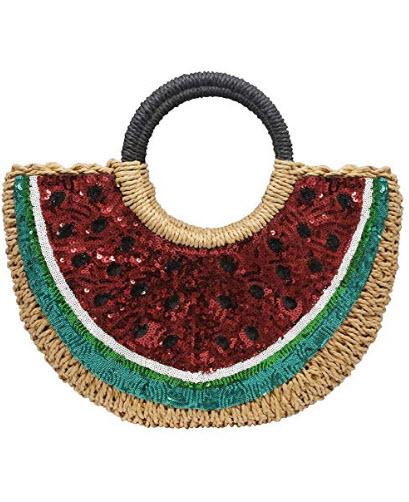 Hogoo Women Watermelon Handbag Hand Woven Round Bags Straw Handbags Beach Tote Bag with Sequin f ...