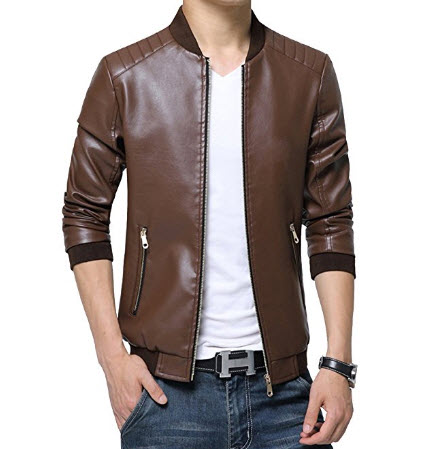 Homaok Men's Smooth Zip-up Leather Collar Bomber Jacket.
