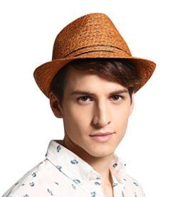 Home Prefer Men's Straw Fedora Hat Summer Sun Beach Straw Panama Hat Cap Toast