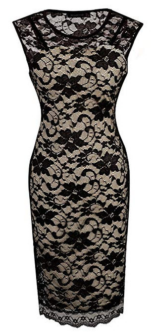 HOMEYEE Womens Floral Lace Cocktail Party Sheath Dress S09 black