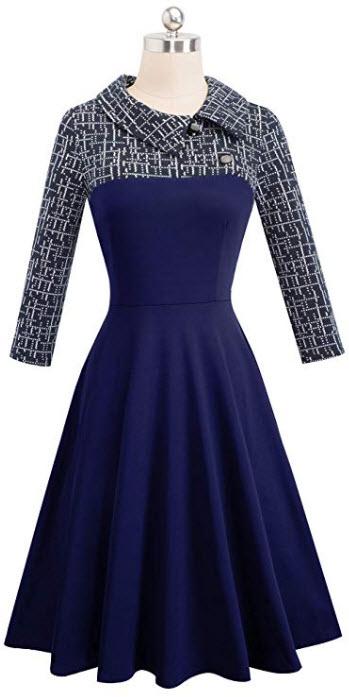 HOMEYEE Women's Lapel 3/4 Sleeve Church Aline Colorblock Work Dress A121 dark blue