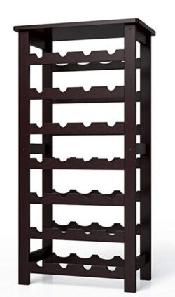 Homfa Bamboo Wine Rack, 7 Tier Free Standing Wine Storage Rack Display Shelves 28 Bottles Capaci ...