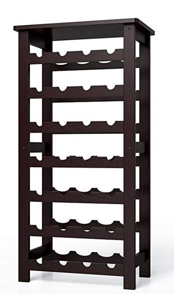 Homfa Bamboo Wine Rack, 7 Tier Free Standing Wine Storage Rack Display Shelves 28 Bottles Capaci ...