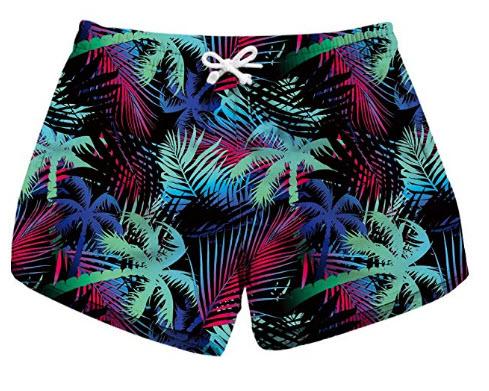 Honeystore Women's Casual Swim Trunks Quick Dry Print Boardshort Beach Shorts, coconut tre ...