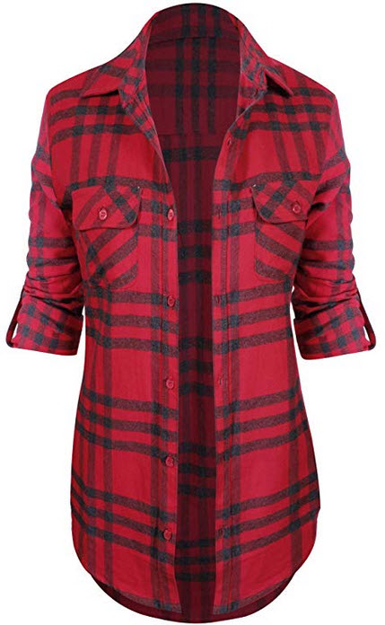 HOT FROM HOLLYWOOD Women's Classic Collar Button Down Roll Up Long Sleeve Plaid Flannel Sh ...