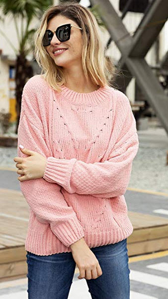 HOTAPEI Women's Soft Velvet Cable Knit Crewneck Loose Fit Pullover Sweaters pink