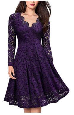 HOT-house Elegant Sexy Dress for Women Vintage Lace Long Sleeve V Neck Black Blue Robe Femme Cas ...