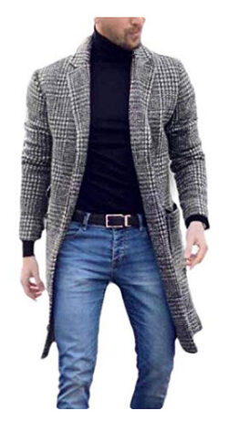hower Mens Winter Printing Wool Blend Outwear Checkered Pea Coat