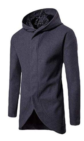 hower Men's Wool Blend Coat Hooded Trench Coat Winter Warm Pea Coats Woolen Jackets Overcoat wit ...