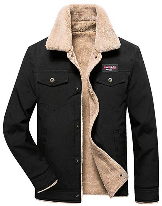 HOW'ON Men's Casual Sherpa Fleece Lined Jacket Warm Coat with Fur Collar black